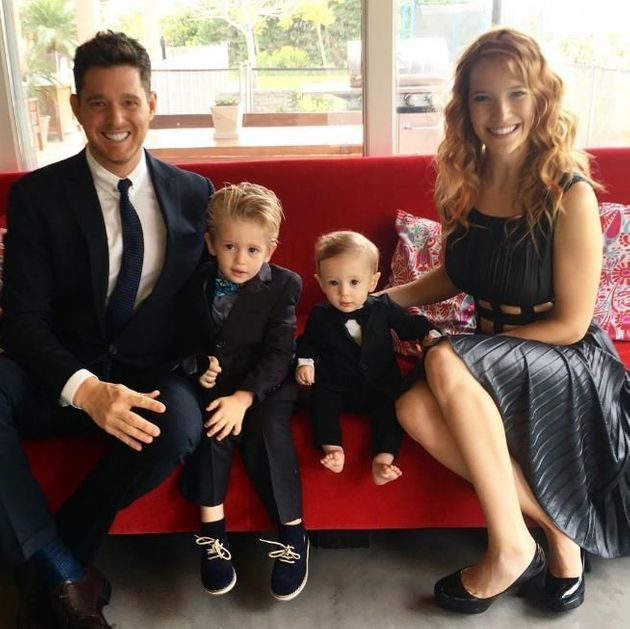 Michael with wifeLuisana Lopilato and their sons Noah