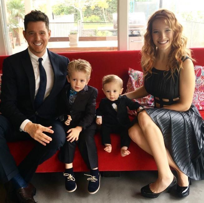 Michael with wife Luisana Lopilato and their sons Noah and Elias