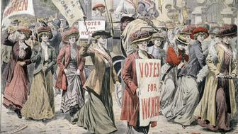 English suffragettes celebrating in streets of London