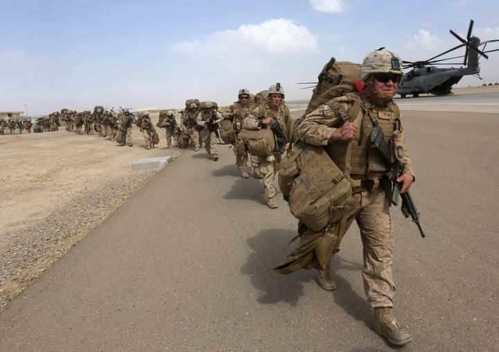 U.S. Marines depart Afghanistan in October 2014.