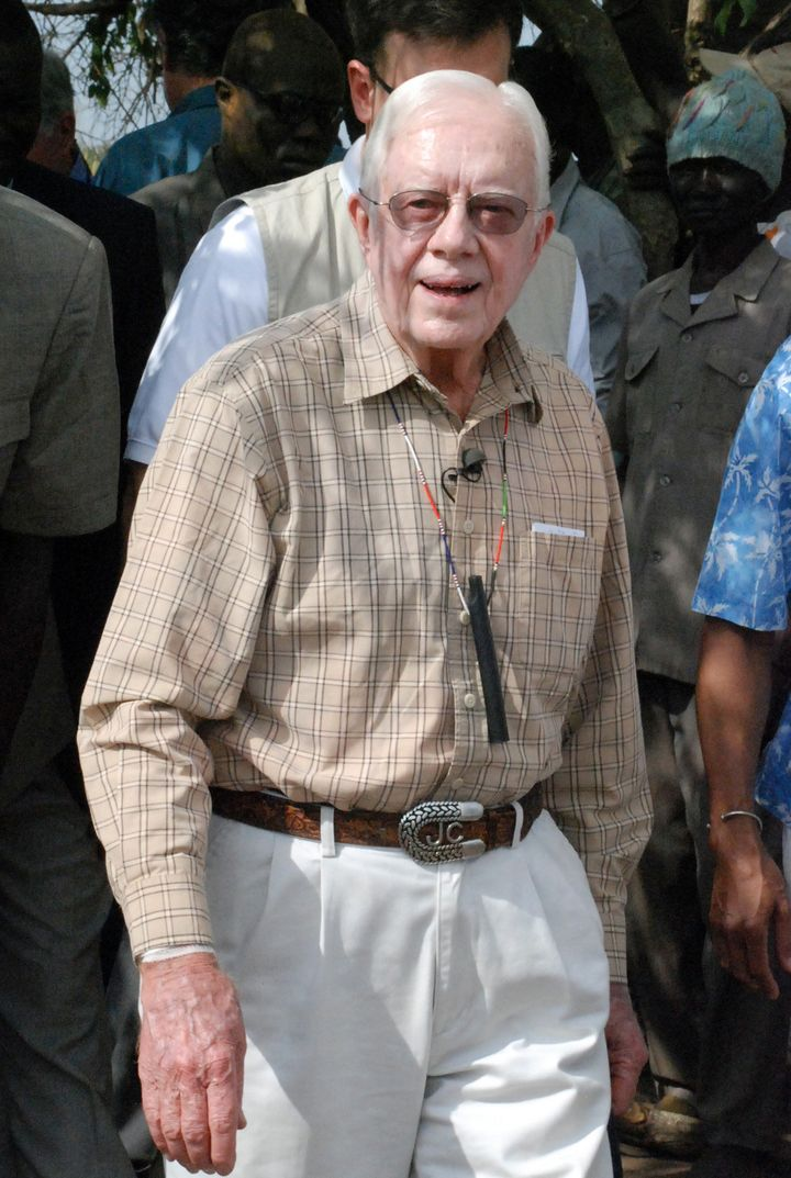 Former U.S. president Jimmy Carter visits the Sudanese village of Lojura -- one of the world's worst areas for Guinea worm --