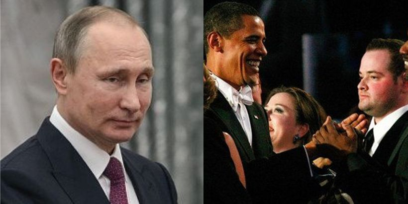 Left: Russian President Putin, Right: American President Barack Obama and Scott Dworkin, senior advisor to the Democratic Coa