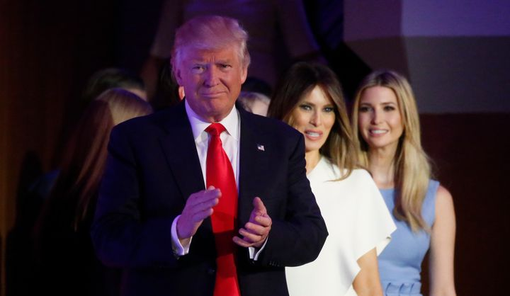 """<p>U.S. President-elect <a href=""""https://www.huffpost.com/news/topic/donald-trump"""">Donald Trump</a> arrives to speak at his election night rally in Manhattan, New York, U.S., November 9, 2016.</p>"""
