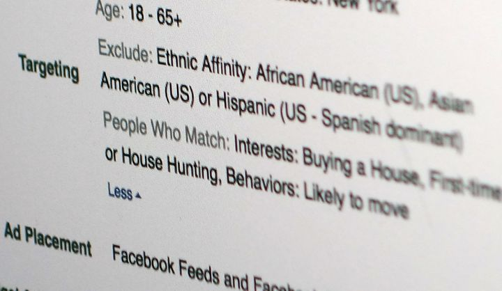 """A screenshot of Facebook's""""ethnic affinity"""" tool, which allowed marketerstotarget certaingroups with&"""