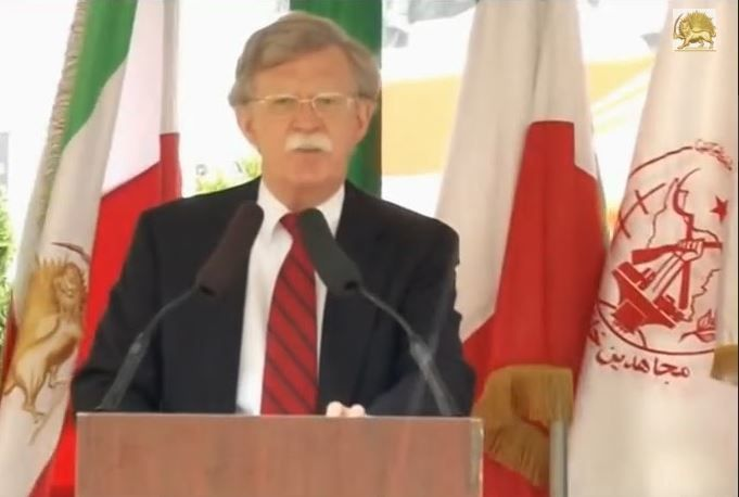 <strong>John Bolton speaks at an MEK rally </strong>