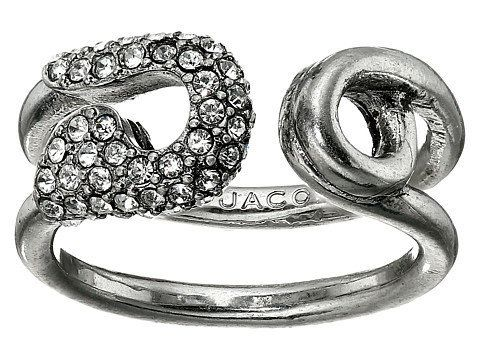 """Marc Jacobs<a href=""""http://luxury.zappos.com/marc-jacobs-charms-pave-safety-pin-ring-crystal-antique-silver"""" target=""""_blank"""">"""