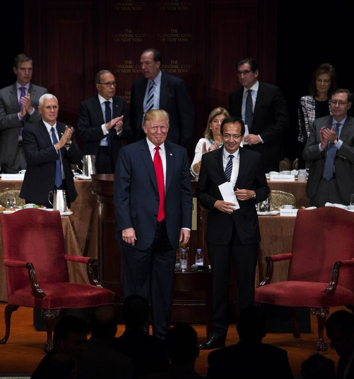 "Donald Trump held a ""fireside chat"" with billionaire hedge fund investor John Paulson at the Economic Club of New York i"