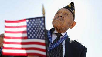 WASHINGTON, DC - JUNE 06:  American World War II veteran Henry Mendoza of Rancho Cucamonga, California, participates in the 70th anniversary D-Day commemoration at the WWII Memorial on the National Mall June 6, 2014 in Washington, DC. Mendoza was a member of the U.S. Army 9th Air Force and gave air support to the invasion of Normandy by allied troops. (Photo by Chip Somodevilla/Getty Images)