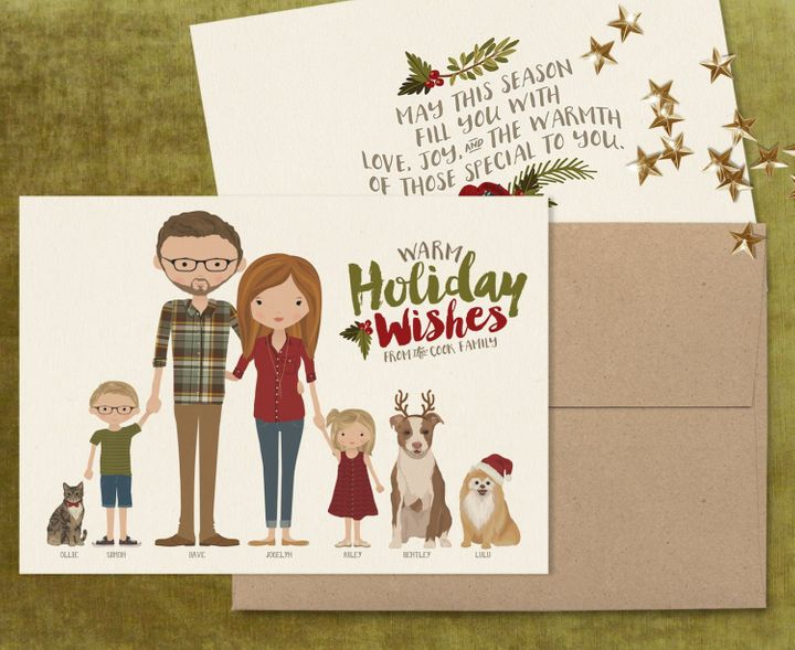 ink lane design inklanedesign etsy portrait christmas card - Holiday Christmas Cards