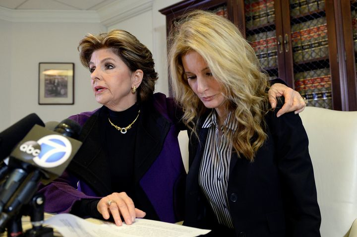 Gloria Allred and Summer Zervos hold a press conference in L.A. on Friday.