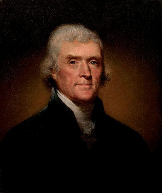 Official Portrait of Thomas Jefferson by Rembrandt Peale, 1800.
