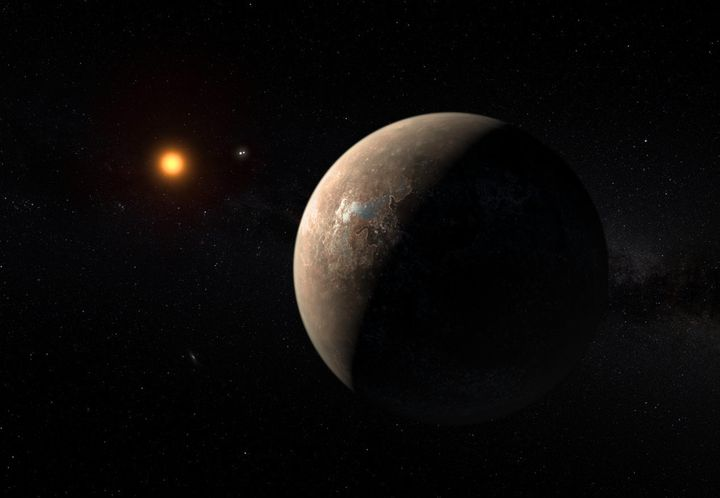 Artist's impression of the planet Proxima b orbiting the red dwarf star Proxima Centauri, the closest star to our solar