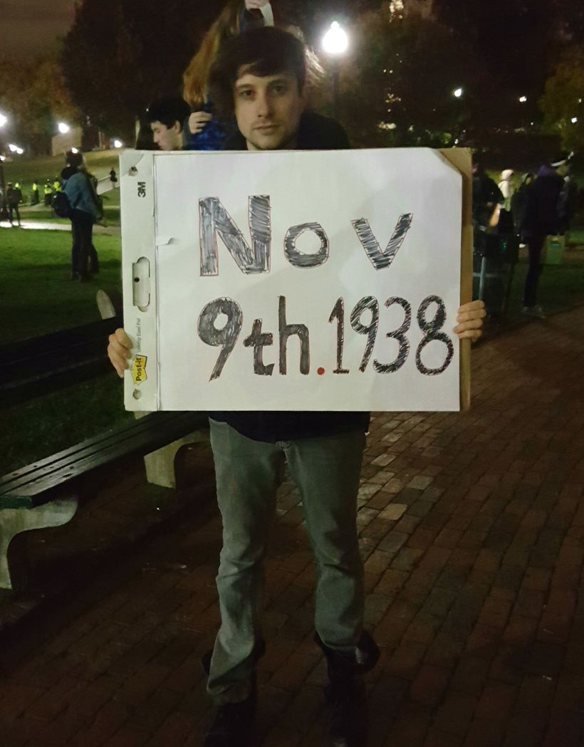 Gershon of Somerville, Massachusetts at Nov. 9 Trump protest rally in Boston