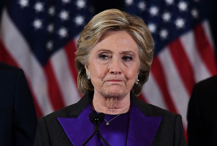 US Democratic presidential candidate Hillary Clinton makes a concession speech after being defeated by Republican president-e