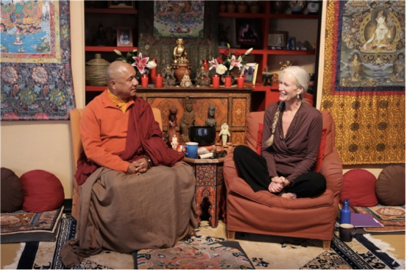 <strong>Lama Ngawang Tsultrim Zangpo and Cynthia Jurs, founder of the Earth Treasure Vase Global Healing Project, Santa Fe, N