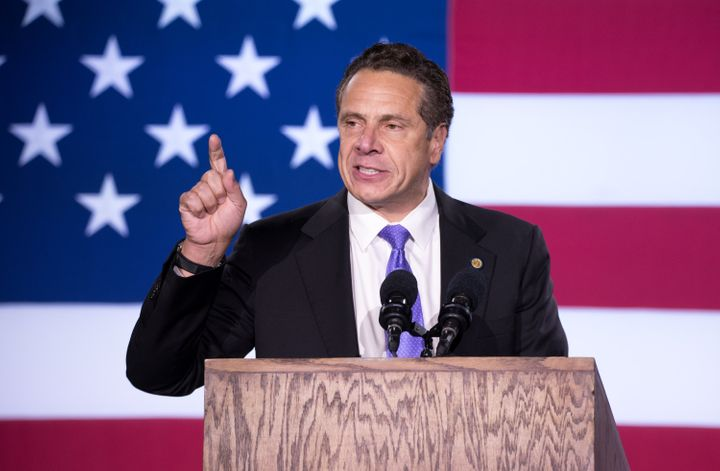 New York Gov. Andrew Cuomo (D)speaks at Hillary Clinton's election night partyin New York City. After Donald Trum