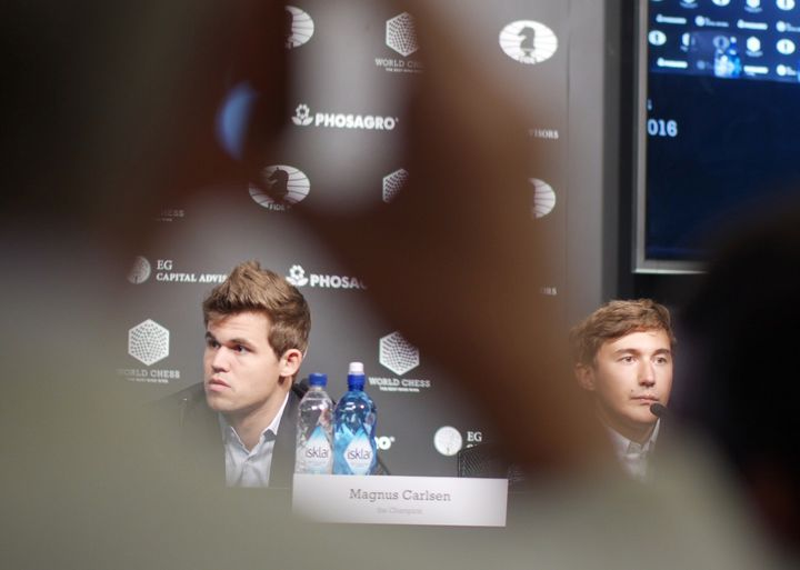 Magnus Carlsen and Sergey Karjakin at their first post-game press conference