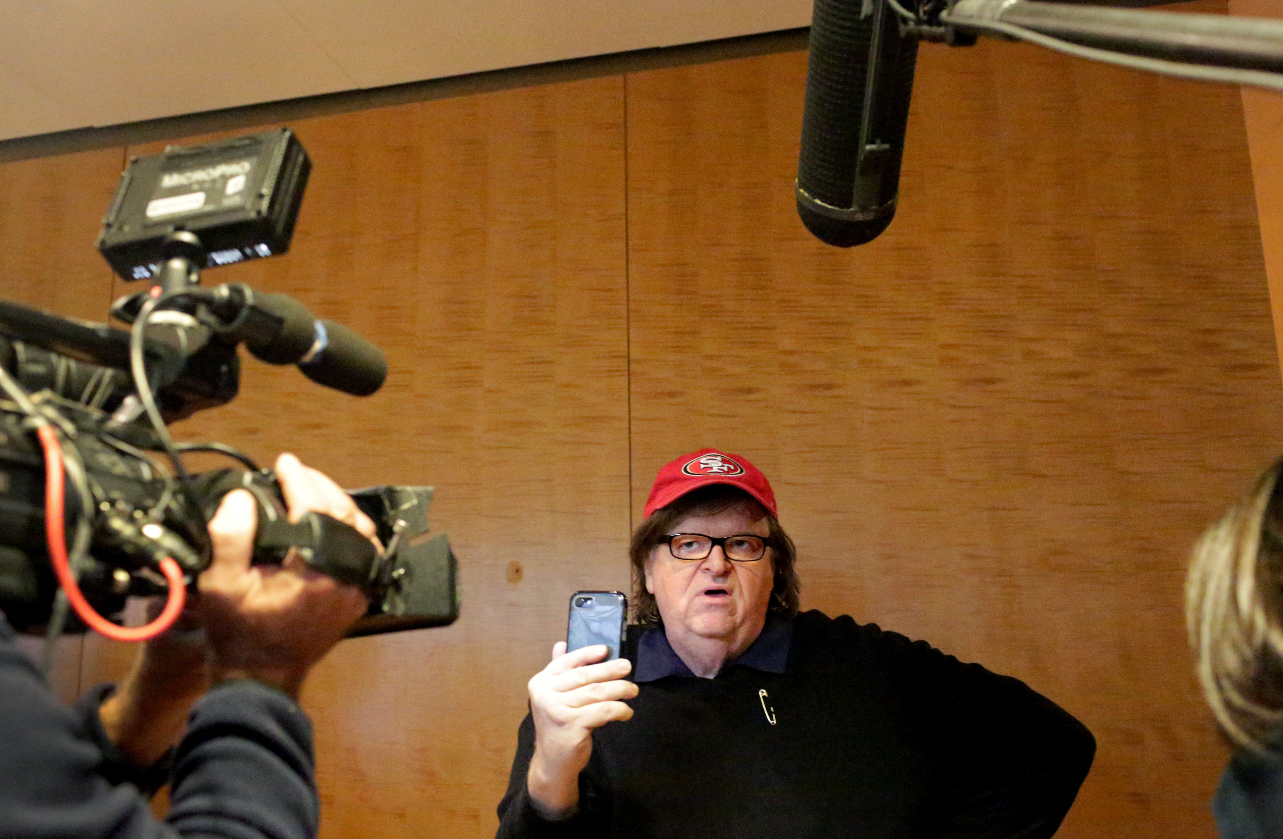 Michael Moore, a progressive filmmaker, streamed his quest for a meeting with Donald Trump on Facebook Live.