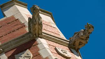 Gargoyles on a turret of an old university building (University of Oklahoma)