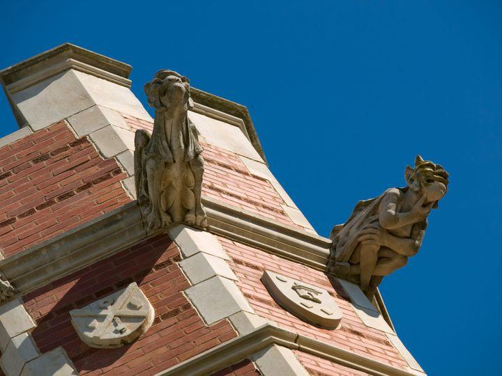 Gargoyles on a turret at the University of Oklahoma.
