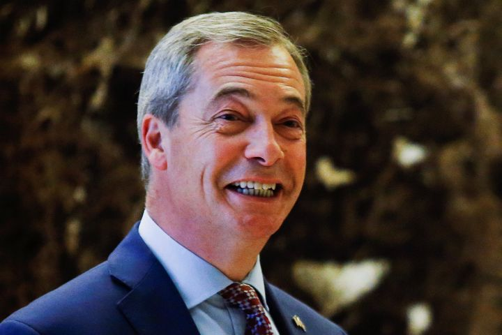 Nigel Farage, leader of the United Kingdom Independence Party (UKIP), arrives at Republican president-elect Donald Trump's Tr