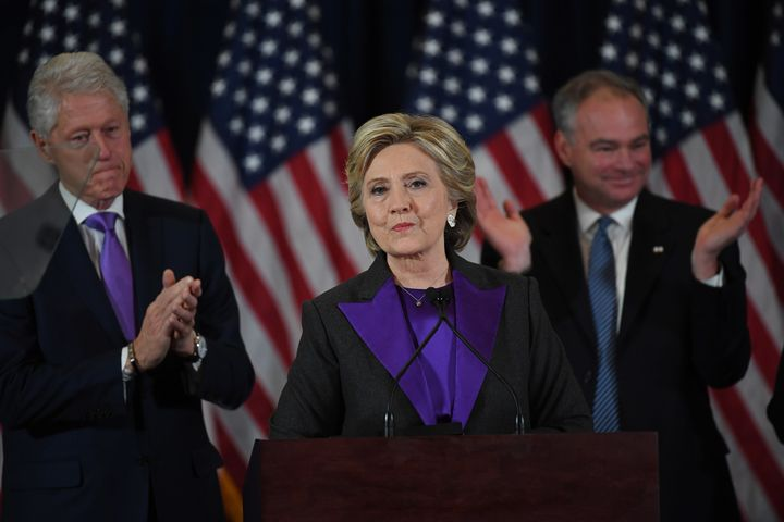 Hillary Clinton gives her concession speech on Wednesday, Nov. 9, 2016.