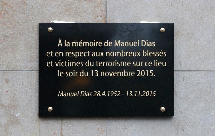 A commemorative plaque is seen outside the Stade de France stadium in Saint-Denis, near Paris.