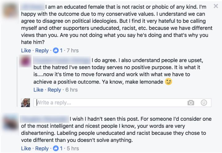 Responses to my Facebook post after I implied Trump supporters are uneducated &racist