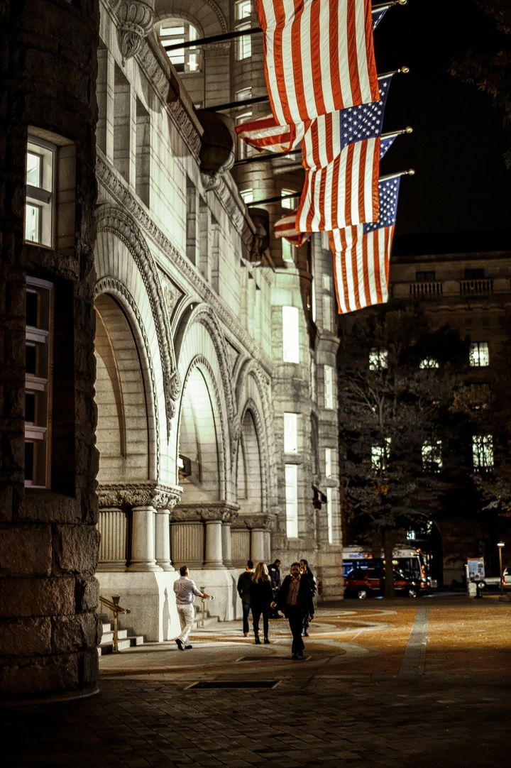 <em>It was quiet in front of the Trump International Hotel in Washington, DC on election night.</em>