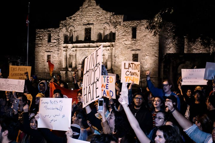 <em>A protest in front of The Alamo in San Antonio, Texas.</em>