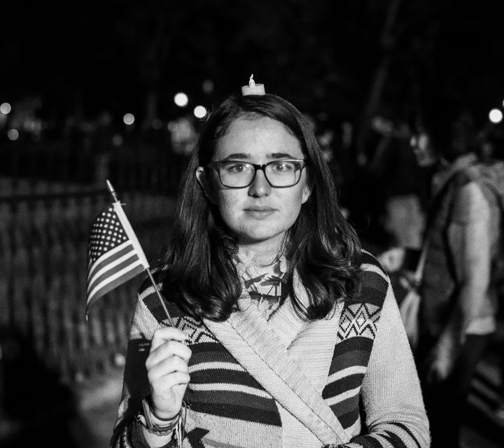 <em>A despondent woman outside of the White House on election night.</em>