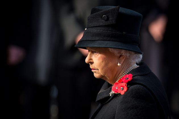 Queen Elizabeth II during the annual Remembrance Sunday Service at the Cenotaph memorial in Whitehall,...