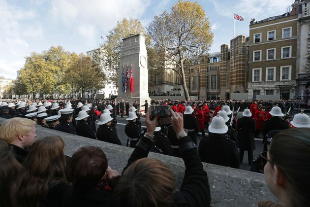Veterans parade during the annual Remembrance Sunday Service at the