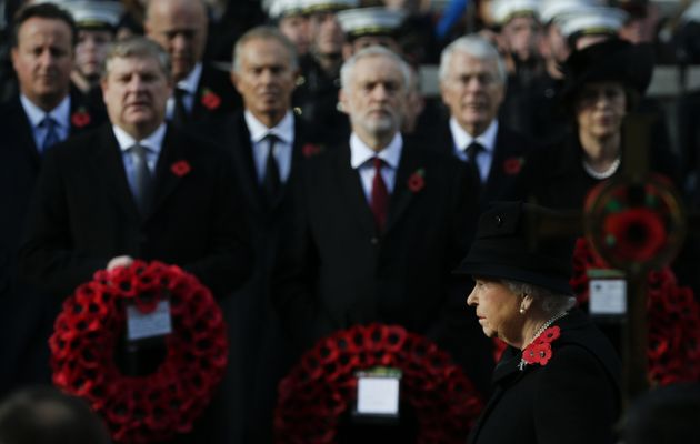 Britain's Queen Elizabeth II takes part in the Remembrance Sunday service at the Cenotaph in