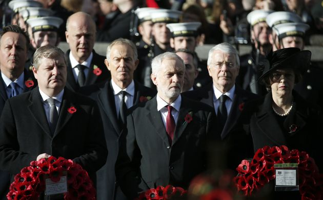 Britain's Prime Minister Theresa May, right, and the Leader of the Opposition Labour party Jeremy Corbyn,...
