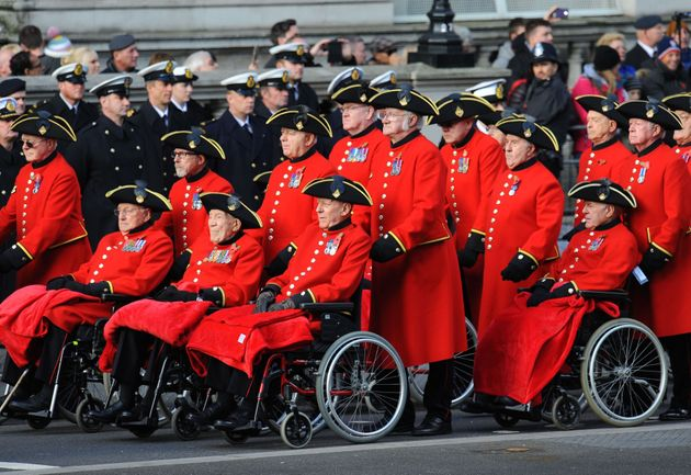 Veterans parade during the annual Remembrance Sunday