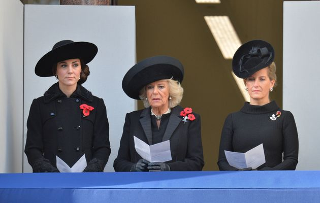 (Left to right) The Duchess of Cambridge, Duchess of Cornwall and the Countess of Wessex during the annual...