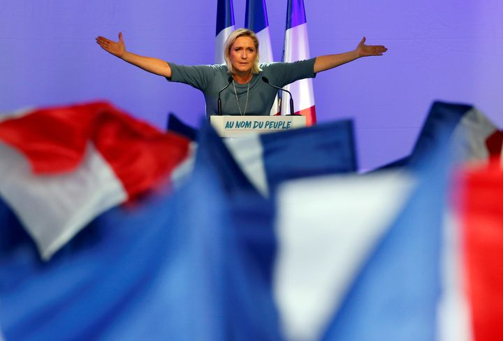 Marine Le Pen, French National Front (FN) political party leader, gestures during an FN political rally in Frejus, France, Se