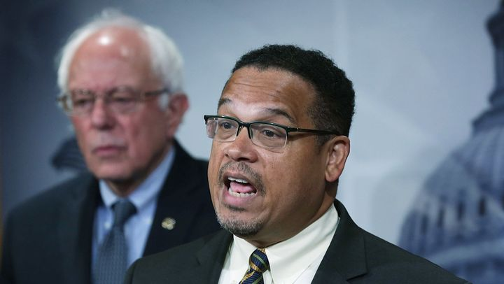 Rep. Keith Ellison, center, is gaining the support of Democratic Party leaders.