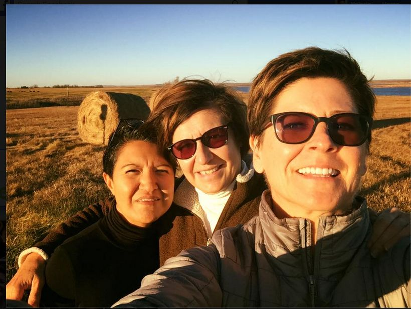 Selfie on the side of 1806. Elvia Mendoza on the left is our team photographer.