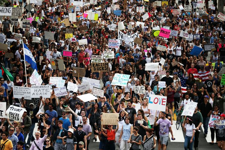 An anti-Trump protest in Los Angeles on Saturday.