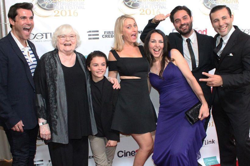 'Left to right: Actors Sean Maher, June Squibb, Dominick Coniglio, Sadie Katz; Writer/Director/Producer Romina Schwedler; Cin