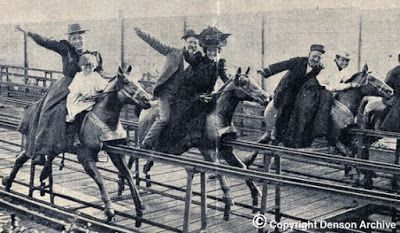 Riding the mechanical horses at Steeplechase Park in Coney Island
