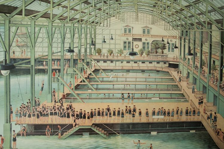 San Franciscans swimming in the indoor pools at Sutro Baths