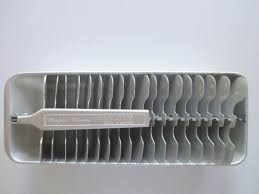 An old-fashioned tray for making ice cubes