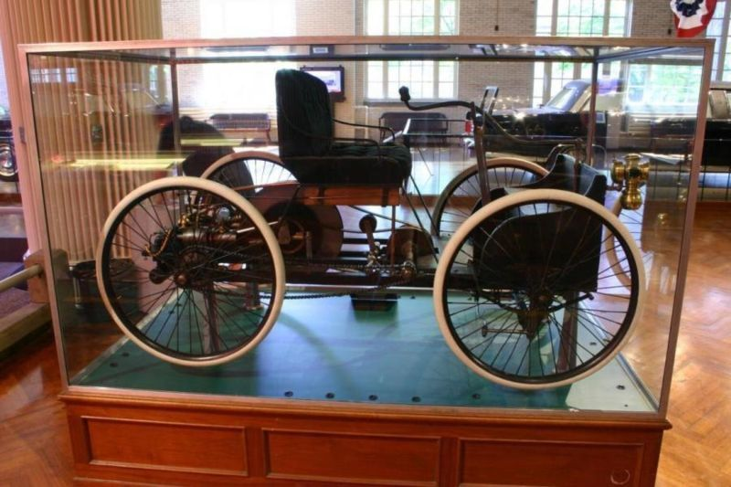 An 1896 Ford Quadricycle on display at the Henry Ford Museum