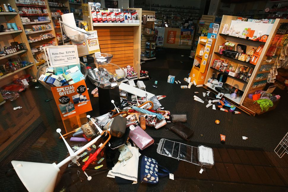 Products lie on the ground in a pharmacy after an earthquake on November 14, 2016 in Wellington, New Zealand.