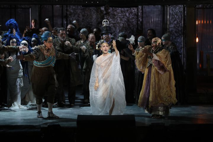 """Anthony Roth Costanzo (center) in the title role of """"Akhnaten,"""" with Kihun Yoon (left) as Horemhab and Frederick Ballentine ("""