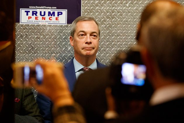 Nigel Farage in the lift at Trump Tower, met by dozens of