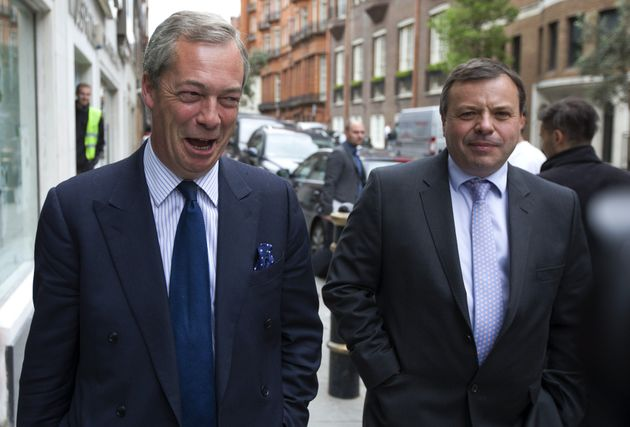 Arron Banks, pictured right, with Nigel